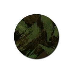Camouflage Brush Strokes Background Rubber Round Coaster (4 Pack)