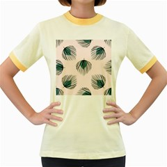 Green Tropical Leaves Seamless Pattern Women s Fitted Ringer T-shirt
