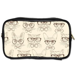Seamless Pattern Hand Drawn Cats With Hipster Accessories Toiletries Bag (one Side) by Vaneshart