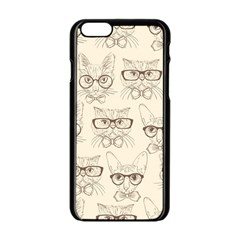 Seamless Pattern Hand Drawn Cats With Hipster Accessories Iphone 6/6s Black Enamel Case