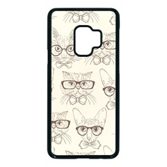 Seamless Pattern Hand Drawn Cats With Hipster Accessories Samsung Galaxy S9 Seamless Case(black)