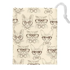 Seamless Pattern Hand Drawn Cats With Hipster Accessories Drawstring Pouch (4xl)