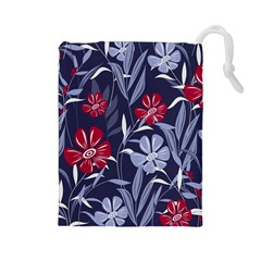 Abstract Seamless Pattern With Colorful Tropical Leaves Flowers Purple Drawstring Pouch (large)