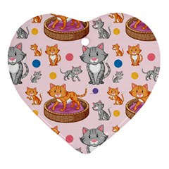 Cat Seamless Pattern Heart Ornament (two Sides)