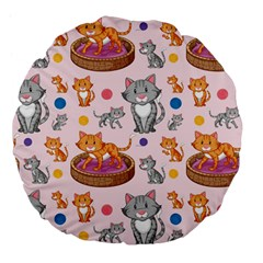 Cat Seamless Pattern Large 18  Premium Flano Round Cushions