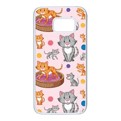 Cat Seamless Pattern Samsung Galaxy S7 White Seamless Case