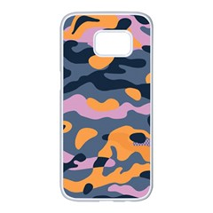 Camouflage Background Textile Uniform Seamless Pattern Samsung Galaxy S7 Edge White Seamless Case