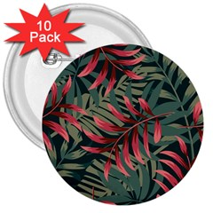 Trending Abstract Seamless Pattern With Colorful Tropical Leaves Plants Green 3  Buttons (10 Pack)