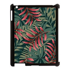 Trending Abstract Seamless Pattern With Colorful Tropical Leaves Plants Green Apple Ipad 3/4 Case (black)