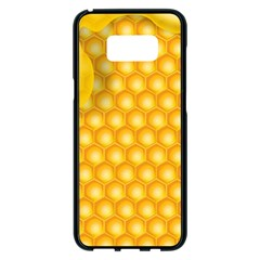 Abstract Honeycomb Background With Realistic Transparent Honey Drop Samsung Galaxy S8 Plus Black Seamless Case