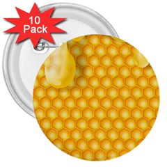 Abstract Honeycomb Background With Realistic Transparent Honey Drop 3  Buttons (10 Pack)
