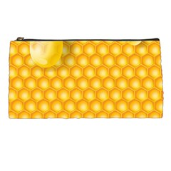 Abstract Honeycomb Background With Realistic Transparent Honey Drop Pencil Cases