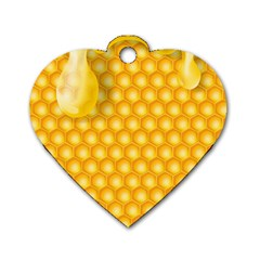 Abstract Honeycomb Background With Realistic Transparent Honey Drop Dog Tag Heart (one Side) by Vaneshart