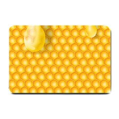 Abstract Honeycomb Background With Realistic Transparent Honey Drop Small Doormat