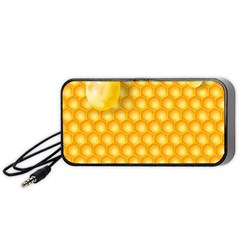 Abstract Honeycomb Background With Realistic Transparent Honey Drop Portable Speaker by Vaneshart