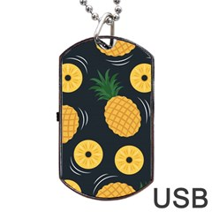 Seamless Pattern Pineapple Pattern Dog Tag Usb Flash (one Side)