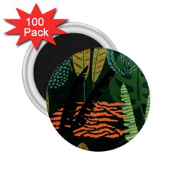 Abstract Seamless Pattern With Tropical Leaves 2 25  Magnets (100 Pack)