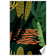 Abstract Seamless Pattern With Tropical Leaves Canvas 24  X 36  by Vaneshart
