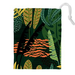 Abstract Seamless Pattern With Tropical Leaves Drawstring Pouch (5xl)