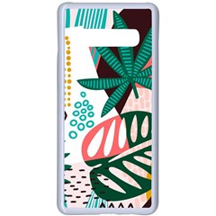 Abstract Seamless Pattern With Tropical Leaves Samsung Galaxy S10 Plus Seamless Case(white)