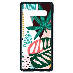 Abstract Seamless Pattern With Tropical Leaves Samsung Galaxy S10 Plus Seamless Case (black) by Vaneshart