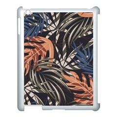 Trend Seamless Pattern With Colorful Tropical Leaves Plants Brown Background Apple Ipad 3/4 Case (white)