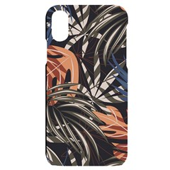 Trend Seamless Pattern With Colorful Tropical Leaves Plants Brown Background Iphone X/xs Black Uv Print Case by Vaneshart
