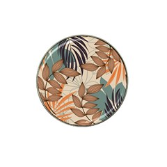 Trend Abstract Seamless Pattern With Colorful Tropical Leaves Plants Beige Hat Clip Ball Marker by Vaneshart