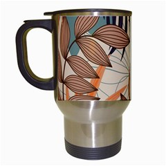 Trend Abstract Seamless Pattern With Colorful Tropical Leaves Plants Beige Travel Mugs (white)