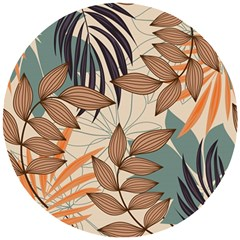 Trend Abstract Seamless Pattern With Colorful Tropical Leaves Plants Beige Wooden Puzzle Round