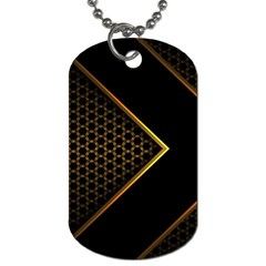 Black Arrow Gold Line Hexagon Mesh Pattern Dog Tag (one Side)