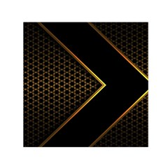 Black Arrow Gold Line Hexagon Mesh Pattern Small Satin Scarf (square)