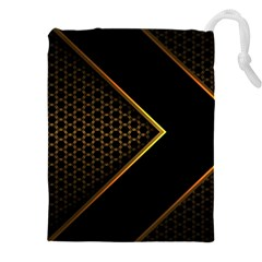 Black Arrow Gold Line Hexagon Mesh Pattern Drawstring Pouch (3xl)