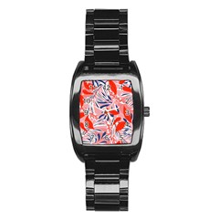 Tropical Seamless Pattern With Colorful Leaves Plants Stainless Steel Barrel Watch