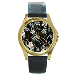 Trending Abstract Seamless Pattern With Colorful Tropical Leaves Plants Black Background Round Gold Metal Watch