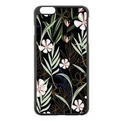 Trending Abstract Seamless Pattern With Colorful Tropical Leaves Plants Black Background Iphone 6 Plus/6s Plus Black Enamel Case