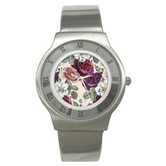 Romantic Floral Background Stainless Steel Watch by Vaneshart