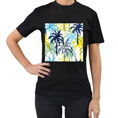 Colorful Summer Palm Trees White Forest Background Women s T Shirt (black)