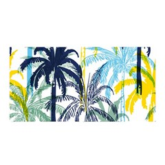Colorful Summer Palm Trees White Forest Background Satin Wrap