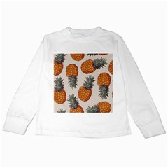 Seamless Pattern With Vector Illustrations Pineapples Kids Long Sleeve T Shirts