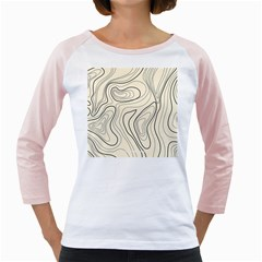 Topographic Lines Background Salmon Colour Shades Girly Raglan