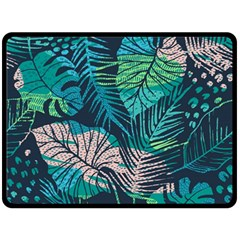 Seamless Abstract Pattern With Tropical Plants Double Sided Fleece Blanket (large)