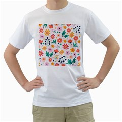 Flat Colorful Flowers Leaves Background Men s T Shirt (white)