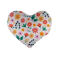 Flat Colorful Flowers Leaves Background Standard 16  Premium Flano Heart Shape Cushions by Vaneshart