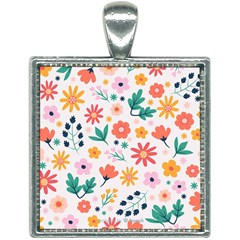 Flat Colorful Flowers Leaves Background Square Necklace