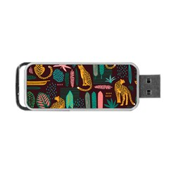 Vector Seamless Pattern With Leopards Portable Usb Flash (two Sides)