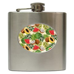 Tropical Pattern Background Hip Flask (6 Oz)