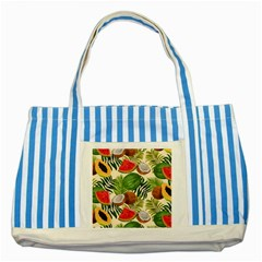 Tropical Pattern Background Striped Blue Tote Bag