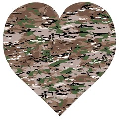 Fabric Camo Protective Wooden Puzzle Heart