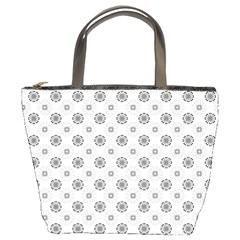 Pattern Black And White Flower Bucket Bag by Alisyart